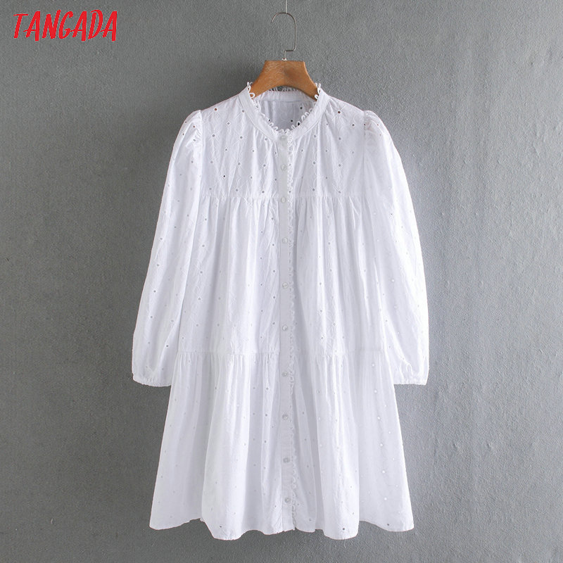 Tangada Fashion Women Solid White Embroidery Hole Dress Long Sleeve Ladies Retro Loose Pleated Mini Dress Vestidos 2W04