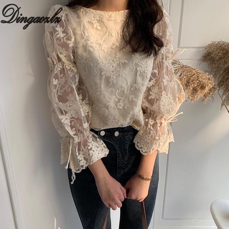 Dingaozlz Spring Autumn New Girl Chiffon Shirt Fashion Embroidered Lace Tops Elegant Flare Sleeve Casual Women Blouse Blusa