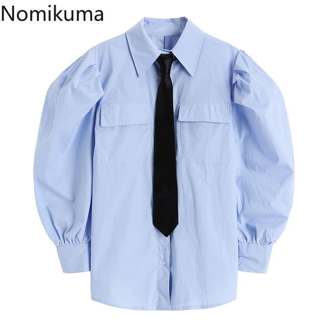 Nomikuma Japanese Puff Sleeve Women Shirt Causal Turn-down Collar Tie Blouse Top 2021 Spring New Causal Blusas Mujer 6E761 1