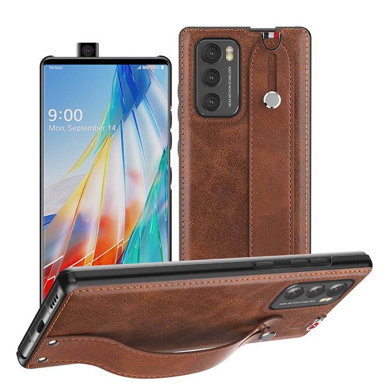 Чехол с ремешком на запястье для LG Wing, роскошный кожаный чехол для телефона, чехол с полной защитой для LG Wing, аксессуары для телефонов