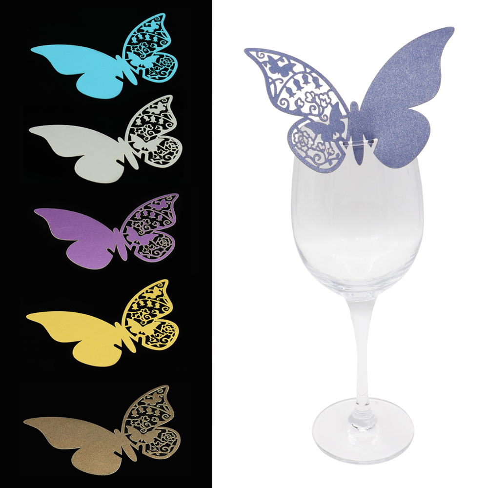 50Pcs/Set Wedding Supplies Butterfly Name Place Card Holder Wedding Party Table Wine Glass Decoration Party Event Seat Marker