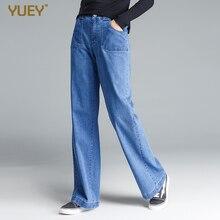 Женские плотные повседневные джинсы, Длинные прямые мягкие классические однотонные свободные широкие джинсы на молнии для женщин от S до 4XL, Прямая поставка