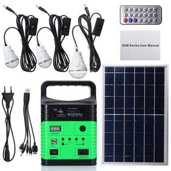 1 Set 10W Portable Solar Generator Outdoor Power Mini DC10W Solar Panel 6V-9Ah Lead-acid Battery Charging LED Lighting System - Russian Federation, Green