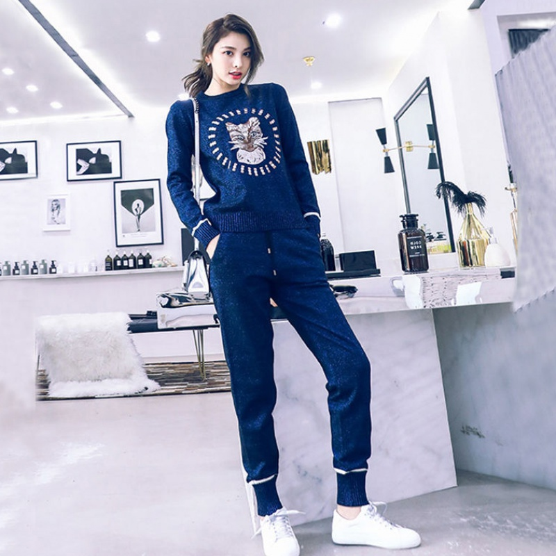Autumn Spring Knitted Tracksuit Sweatshirts Women Suit Clothing 2 Piece Set Knit Pant Female Pants Suit