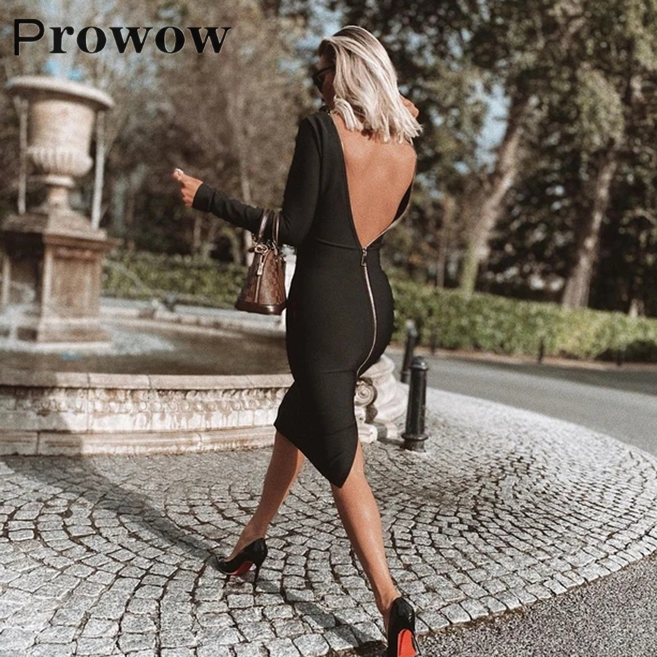 Prowow Solid Back Zipper Tight Dress Spring Autumn Women Fashion Slim Clothes Female Long Sleeve Knee-Length Round Neck Dresses