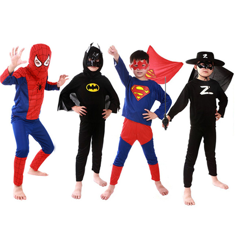 Kids Superhero Costume Spider&man  Set Cloths Boys Birthday Party Children Super  Cape  Cosplay Carnival Costume