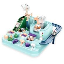 Racing Rail Car Train Track Toys for Children Montessori Boys Girls Gifts Racing Cars Mechanical Adventure Brain Table Game
