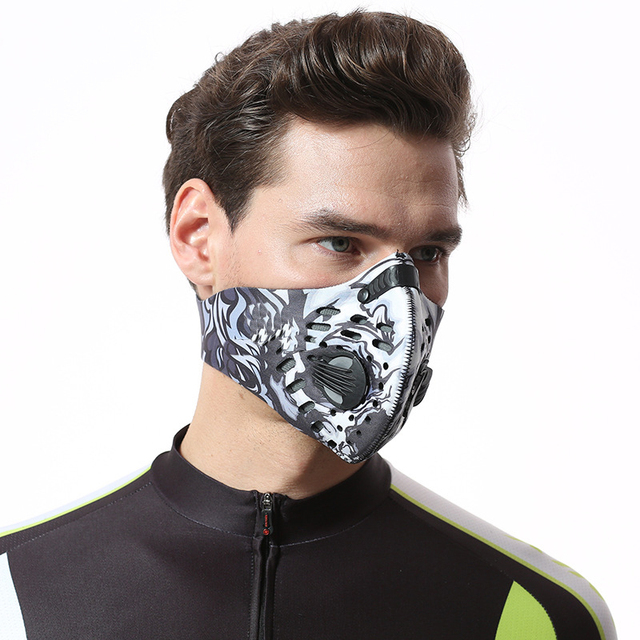 Activated Carbon Dust-proof Cycling Face Mask Men Women Anti-Pollution training Bicycle Bike Outdoor Running mask face shield 3