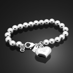 Image 4 - Fashion 100% 925 sterling silver Heart Bracelet Women solid silver Hand catenary Girl simple ball bracelet Charm Fine Jewelry