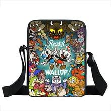 funny cuphead / mughead print small shoulder bag women handbag mens crossbody bags Adult book bag student messenger bags