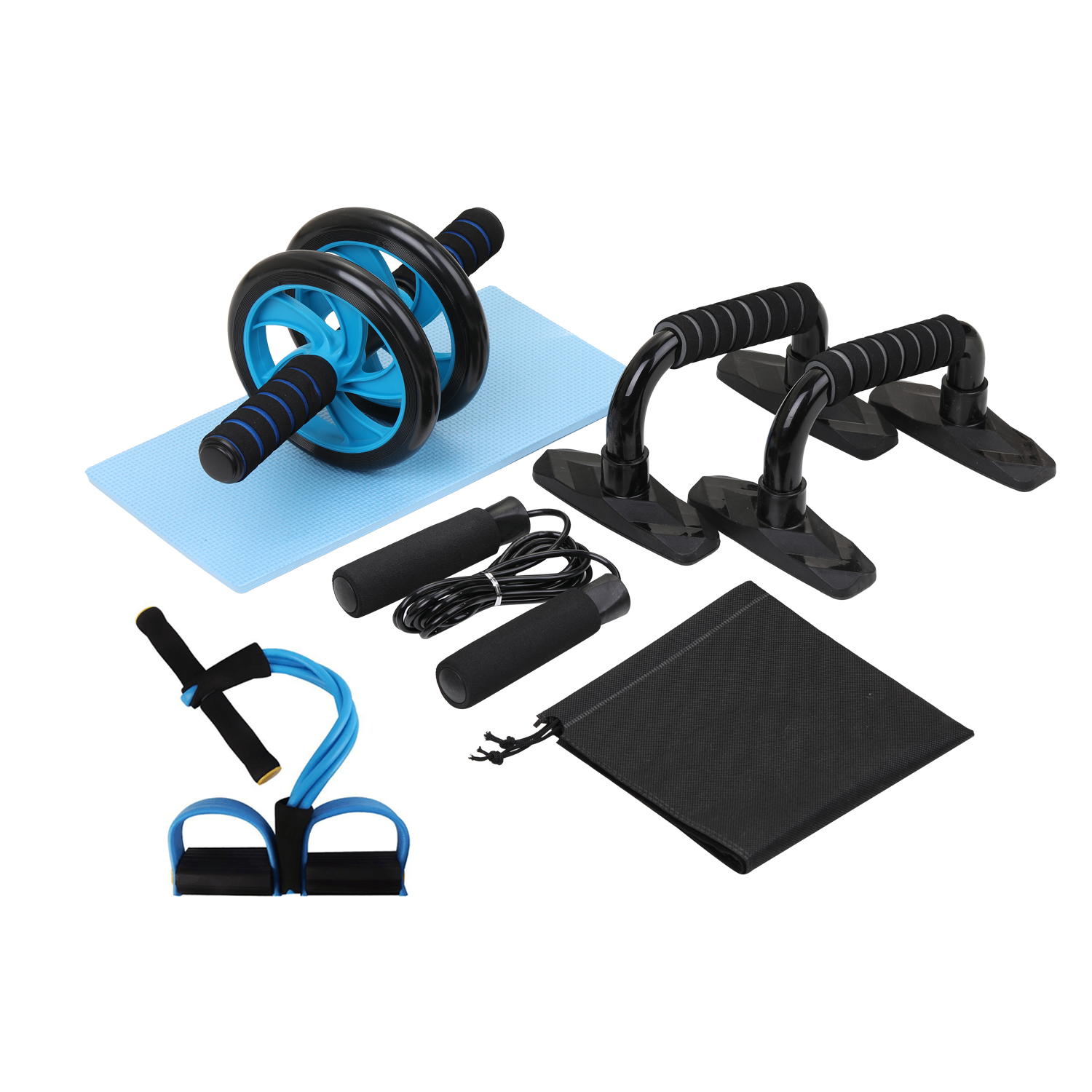 5 In 1 AB Wheel Roller Kit Abdominal Press Wheel Pro With Push-UP Bar Jump Rope And Knee Pad Equipment  Exercise Muscle Strength