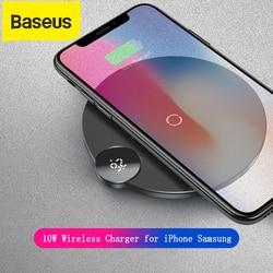 Baseus 10W bezprzewodowa ładowarka do iPhone XS Max XR X 8 cyfrowy wyświetlacz bezprzewodowa ładowarka qi podkładka do samsunga Galaxy S8 S9 Huawei w Ładowarki do telefonów komórkowych od Telefony komórkowe i telekomunikacja na