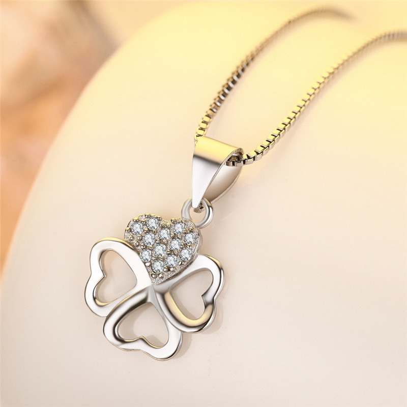 Fashion Lady Silver 925 Sterling Necklace For Women Jewelry Beautiful Zircon Clover Necklace Girls Princess Christmas Gift Necklaces Aliexpress