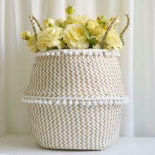 Foldable Staw Storage Basket Folding Wicker Rattan Seagrass Sundries Garden Flower Pot Planter Laundry Clothing