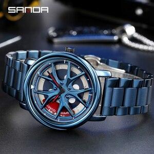 Image 2 - Men Watch Personality Car Wheel 360 Degree Rotating Waterproof Quartz Wristwatch Women SANDA Top Brand Luxury relogio masculino