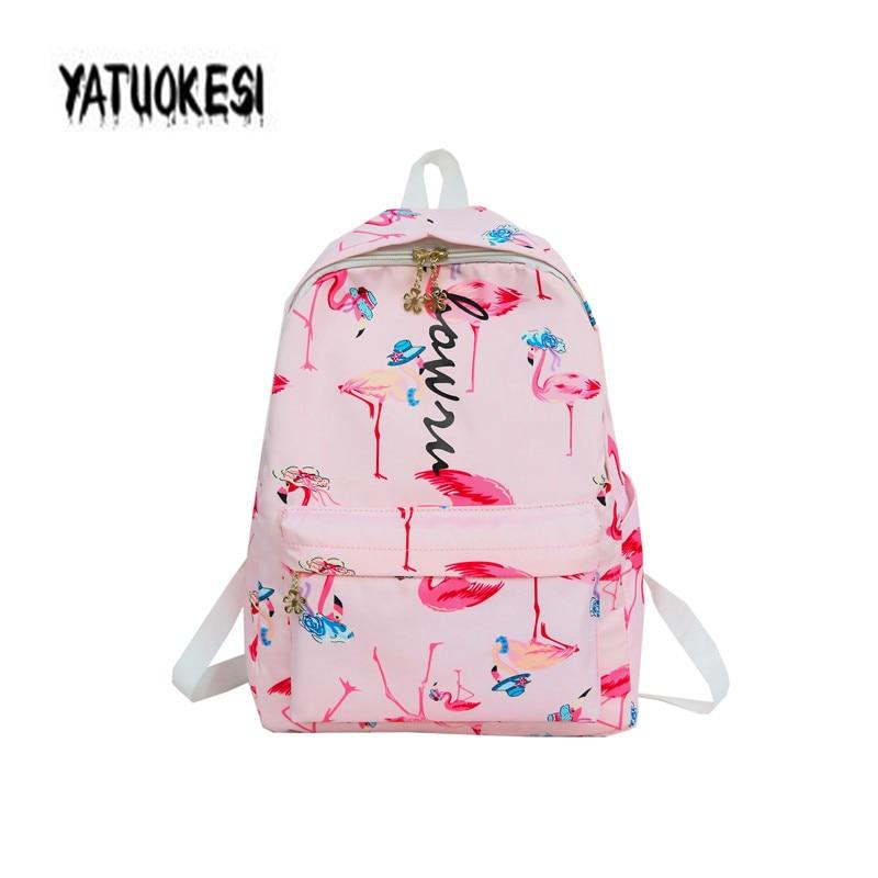 YATUOKESI Women Japanese&Korean Harajuku Style Backpack With Flamingo Fruit Printing Small Fresh Schoolbags Mochilas Mujer 2020