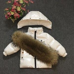 Image 5 - 2020 Kinderen Winter Pak Voor Meisjes Warm Down Fur Jongens Sneeuw Sutis Sport Echt Bont Kinderkleding Sets Winddicht kind Outfits