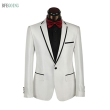 White Flat Single Breasted Wedding Suit Groom wear Tuxedos for Bride Custom made+Pants+Tie