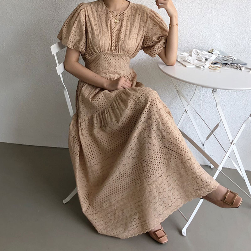 Chic Elegant Women Summer Dress Short Sleeve Jacquard Lace Hollow High Waist Slim Big Swing Type Puff Sleeve Dresses Female B353