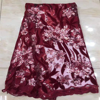 African Lace Fabric 2020 High Quality Velvet French Net Embroidered Nigerian Lace with Sequins flannel lace for dress red