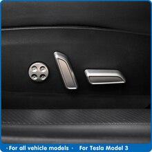 Model3 cubierta decorativa para asiento de coche, botones de ajuste para Tesla modelo 3 2020, accesorios de interior