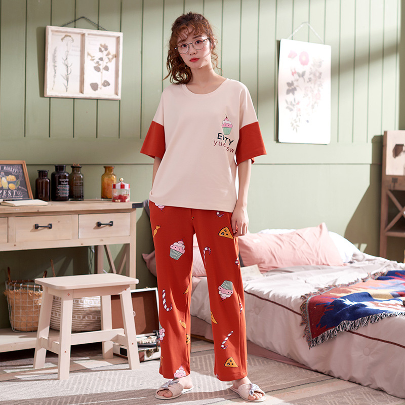 Short Sleeve Trousers Thin Cartoon Knitted Pure Cotton Tracksuit Women's Summer Plus-sized Sports Leisure Suit Pajamas