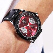Бесплатная доставка мода креатив красный часы мужчины спорт часы бег часы искусственная кожа кварц часы Yong Man Cool часы