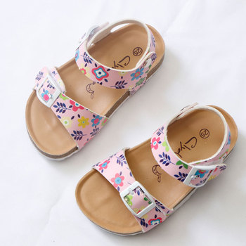 2020 Summer Girls Sandals Printing Pu Leather Corks Open Toe Slides Flats with Little Girl Shoes for School 2-12 Years Toddler