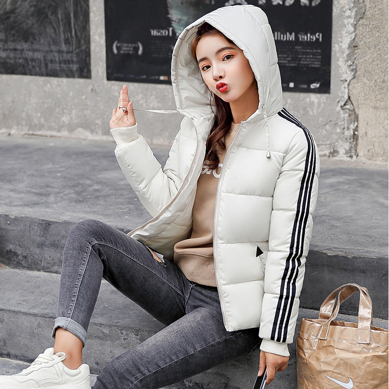 Short Cotton-padded Clothes Women's 2019 Winter New Style Europe And America Versitile Fashion Loose-Fit Hooded Down Jacket Cott