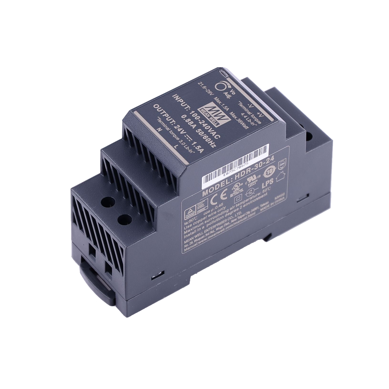 Original Mean Well HDR-15 30 60 100 150 series DC 5V 12V 15V 24V 48V meanwell Ultra Slim Step Shape DIN Rail Power Supply-2