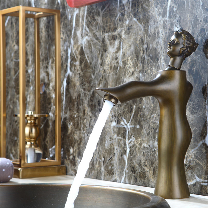 Robinet de bassin d'art de beauté européenne moderne cuivre chaud et froid tout le robinet de lavabo de bassin de salle de bains - 5