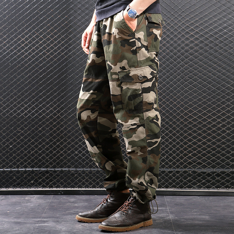 Camouflage Bib Overall Men's Thick MEN'S Casual Pants May Kaji Important Pure Cotton Ankle Banded Pants Straight-Cut Elastic Pan