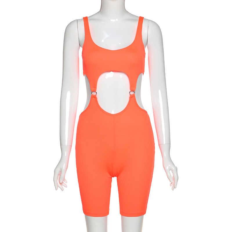 Seksi spor oymak tulum tulum kadınlar yaz Streetwear Backless Biker şort turuncu siyah Rompers bayan tulum