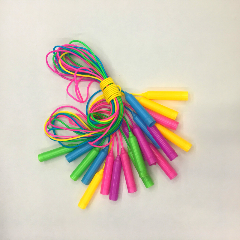Small Handle Standard Plastic Skipping Rope Children PVC Color Jump Rope Manufacturers Direct Selling Crystal Rope Skipping Spor