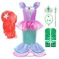 Платье принцессы для девочек, детский летний костюм с оборками и маленькой русалочкой на Хэллоуин, детская одежда Ариэль для карнавала, рож...