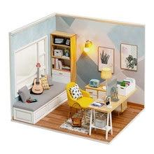 Миниатюрный Кукольный дом, комплект из миниатюрного деревянного домика «сделай сам», пылезащитный чехол, аксессуары для кукольного домика,...