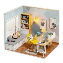 Mini casa de boneca casa livre poeira capa diy casa de bonecas de madeira miniaturas kit acessórios de móveis brinquedos para crianças presente