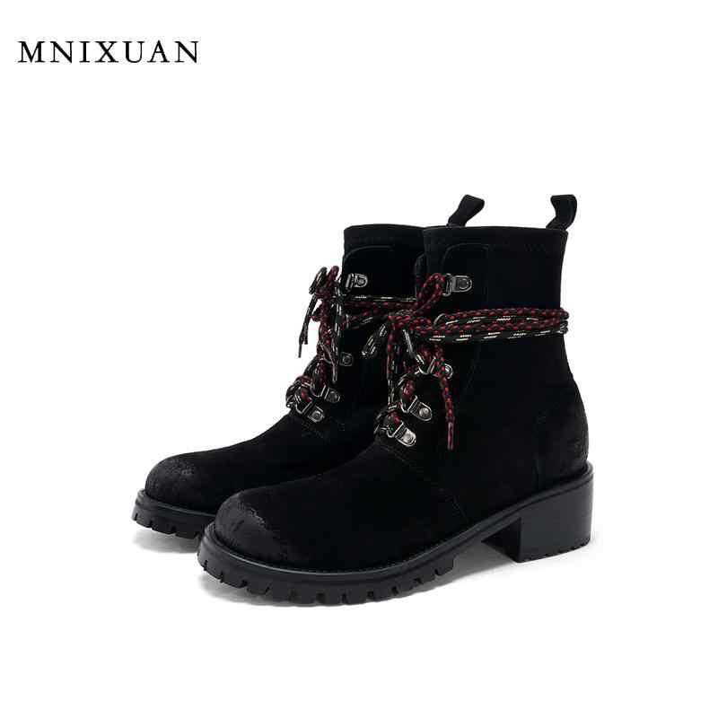 MNIXUAN Western คาวบอยรองเท้า 2019 ฤดูใบไม้ร่วงฤดูหนาวใหม่หนังผู้หญิง punk รองเท้าแพลตฟอร์ม lace up martin boots ขนาด 42