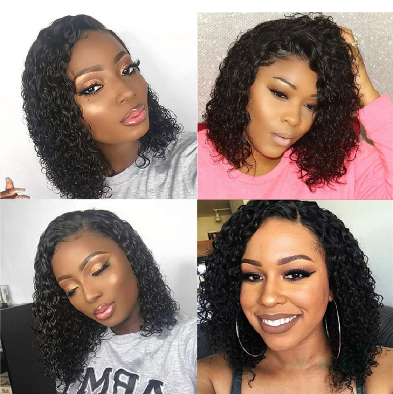 13x6 Curly Human Hair Wig 165 Density Short Bob Lace Front Human Hair Wigs Brazilian Glueless Wig Remy Pre Plucked For Women