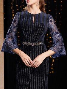 Image 5 - J9066 jancember o pescoço manga três quartos vestido de noite na turquia caixilhos lace vestido azul marinho noite платье вечернее длинное