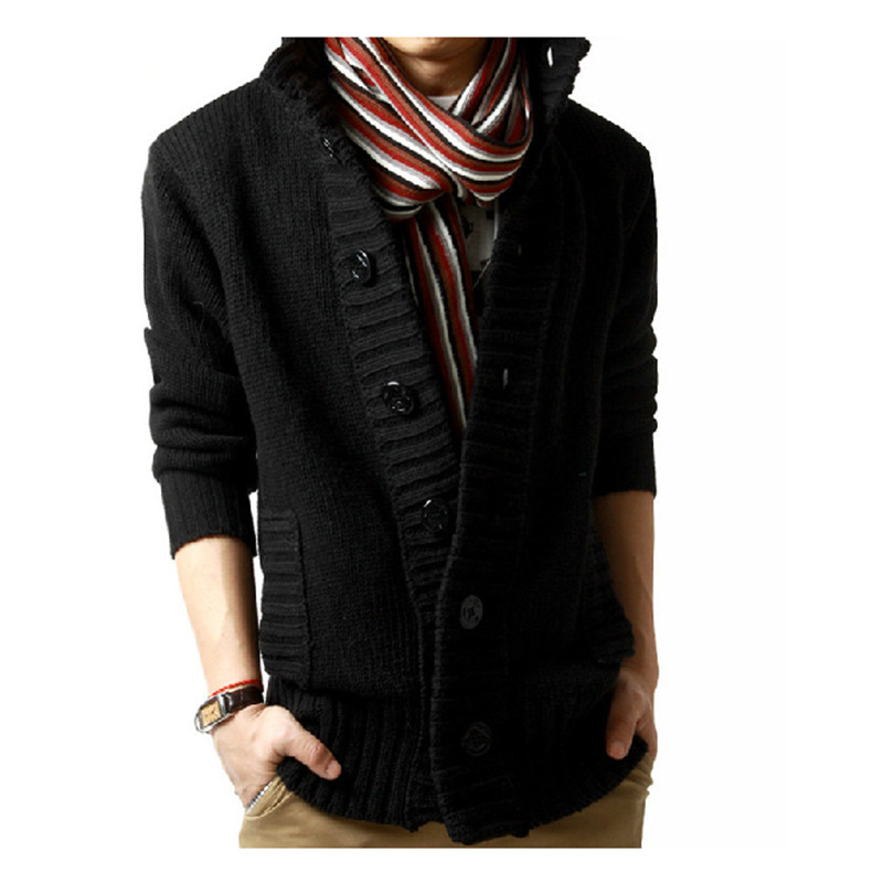 Black Sweater Mens 2019 Winter Korean-style Big Button Thick Coat Fashion Casual Sweater Stand-Collar Cardigan Sweater Men Loose