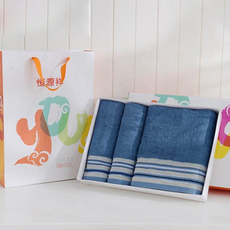 Épais grande serviette de bain doux lavage absorbant serviette ensemble bleu blanc enveloppe serviette ensemble 3 pièces noël serviette de bain cadeau boîte 6MM92