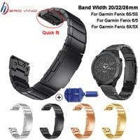 26 22 20MM Armband Strap für Garmin Fenix 6X 6S 6 Pro 5X 5 5S 3 3HR uhr Schnelle Release edelstahl streifen Handgelenk Band Strap