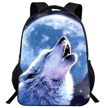 New 3D animal print schoolbag male and female pupils cool wolf head - discount item  48% OFF School Bags