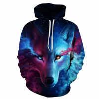 2019New Hoodies sweatshirts Wolf 3DPrinted Männer Hoody Pullover Mode Trainings hip hop Streetwear Unisex große größe S-6XL