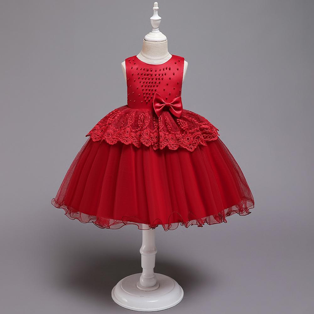 2020 borgonha vestido de Baile Vestidos Da Menina de Flor Do Laço Dobrado Apliques Roupas Primeira Comunhão платье 1-8 Anos vestido daminha