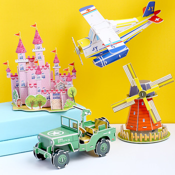 3D DIY Puzzle Jigsaw Cartoon Castle Garden Zoo Princess HouseBuilding Model Puzzle Toys Educational Toys For Children Kid Gift image