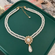 Vintage Green Imitation Pearls Choker Simple Short Fashion Double Strands Necklace for Women Girls Classic Bridal Jewelry Retro