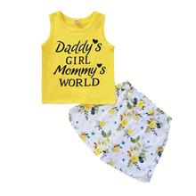 New Summer Baby Sets Baby Girls Kids Clothes Casual Letters Print Set Sleeveless Tops + Floral Shorts Sets Toddler Girl Clothes