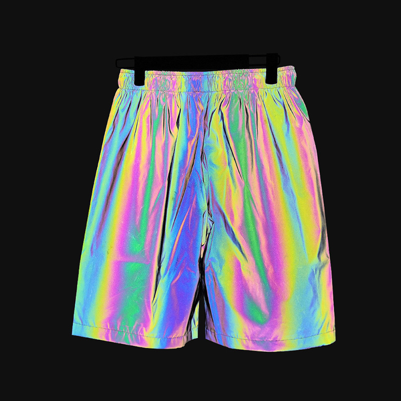 RUELK New Arrival Reflective Shorts Men Summer Night Joggers Eye-Catching Extremely Colorful Streetwear Night Club Men's Shorts